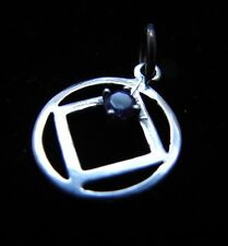 Sterling Silver Narcotics Anonymous  NA Symbol with Amethyst Recovery Jewelry761