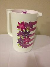 Tupperware One Gallon Pitcher with Matching Push Button Seal - Flower Edition