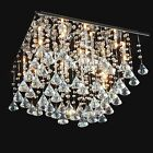 Chrome Floating Glass Rain Drop Ceiling Chandelier Light Crystal Clear Decor New