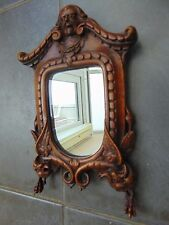 ANTIQUE BLACK FOREST FRENCH WOOD CARVED FIGURAL MIRROR CHIMERA WALL HANGING