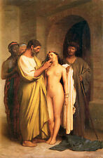 Stunning Oil painting portraits purchase slaves - nude young girl & men canvas