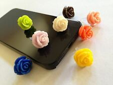 8pcs Mix Color Rose Dust Plug For iphone & 3.5mm Earphone cap Mobile Phone #19