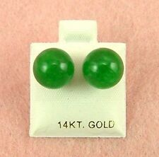 14K Yellow Gold - 9mm Green Jade Ball Stud Earrings (GE313)
