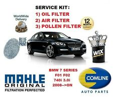 FOR BMW 7 SERIES F01 F02 740 3.0 2008-- ON OIL AIR POLLEN FILTER SERVICE KIT