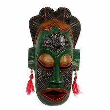African Wood Mask Congolese Hand Carved 'Thank You Nature' NOVICA Ghana
