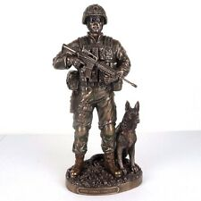 """US Army & Dog Honor Courage Commitment Bronze Figurine Miniature Statue 11""""H New"""