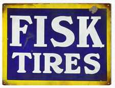 Fisk Tires Blue Yellow White Letters Gas And Motor Oil Sign