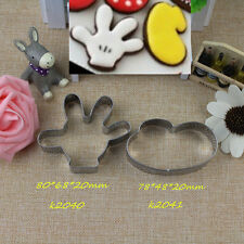 Mickey mouse Shoe Glove fondant pastry baking biscuit cookie cutter metal set