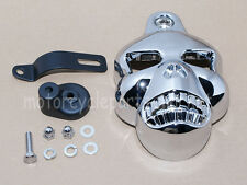 Motorcycle Black Skull Head Horn Cover Harley Davidson Street Glide Dyna Softail