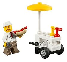 LEGO City MiniFigure: Hot Dog Vendor (w/ Hot Dog Cart)  From Set 60134