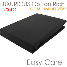 FINEST RANGE 1200TC COTTON RIGH BEDDING LINEN FITTED SHEET BLACK QUEEN