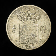 1896 Netherlands Dutch East Indies 1/4 Gulden silver coin KM# 305