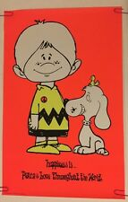 Vintage Black Light Poster Charlie Brown Animation 1970's Pin-Up Happiness Is