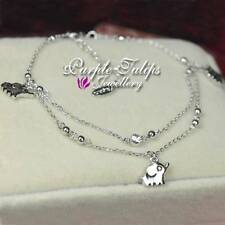 18CT White Gold Plated 3 Cute Elephants Pendant Anklets W/Gen SWAROVSKI Crystals