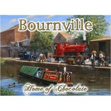 Bournville Chocolate, Canal Barge, Steam Train, Vintage,Large Metal/Tin Sign