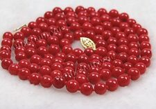"""LONG 36"""" 7-7.5mm Japan Red Coral Round Beads Jewelry Necklace AAA Grade"""