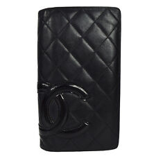 Auth CHANEL CC Logos Cambon Quilted Long Bifold Wallet Purse Leather BK 60G583