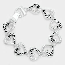 Heart Bracelet Chain Link Magnetic Closure Clasp Love Forever Filigree SILVER