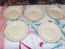 5 vintage reproduction enamel cowboy holiday green trim enamel large plate lot