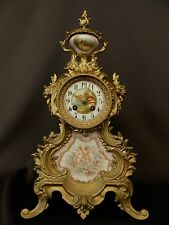Antique French with hand painted pink Sevres Porcelain Clock ca 1900 Ad MOUGIN