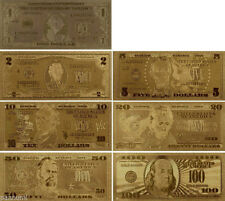 7* 24 KT  99.9% GOLD BILLS. $1-$2-$5-$10-$20-$50-$100 +EACH IN  PVC BILL HOLDER