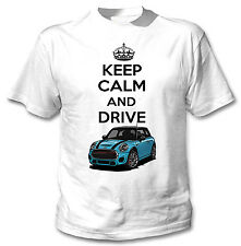 MINI COPPER BLUE INSPIRED KEEP CALM AND DRIVE - WHITE COTTON TSHIRT