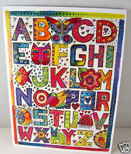 Laurel Burch Deluxe Greeting Card Baby Card Cat Flowers Alphabit Letters New