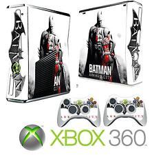 Xbox 360 FINA Consola Pegatina Carcasa Hombre De Palo Arkham Estilo & 2 X Mando