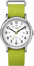 "Timex TW2P65900, ""Weekender"" Lime Fabric Strap Watch, Indiglo,TW2P659009J"