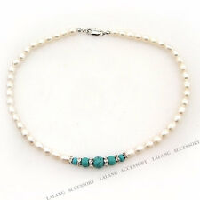 1string Hot Sale White Natural Freshwater Genuine Pearls Turquoise Necklaces L