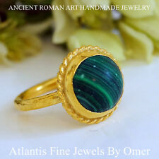 TURKISH  MALACHITE RING 925K STERLING SILVER 24K GOLD VERMEIL JEWELRY BY OMER