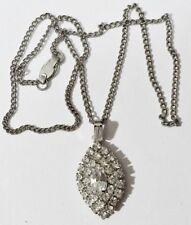 pendentif+chaine vintage navette tout incrusté de cristaux diamant * 3548