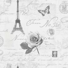 Holden Decor Wallpaper-Calligraphy- Paris/Stamps/ Eiffel Tower-Silver/Grey-97752