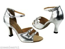 1620 Silver Leather Ballroom Salsa Mambo Latin Dance Shoes heel 3 Size 8