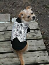 Black T-Shirt with Mock Plaid Vest for Dog Dogs Puppy for the Preppy Pup