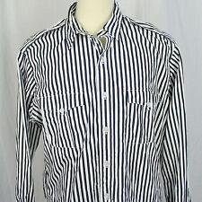 Polo Ralph Lauren Black & White Striped Long Sleeve Shirt Cotton Men Sz XL EUC