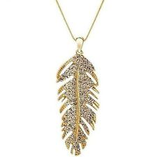 Diamanté Crystal Diamond Rhinestone Feather Gold Plated Pendant Necklace