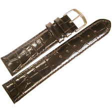 20mm Mens Fluco Brown Crocodile-Grain Leather Made in Germany Watch Band Strap