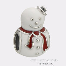 Authentic Pandora Silver Happy Snowman with White and Red Enamel Bead 791406ENMX