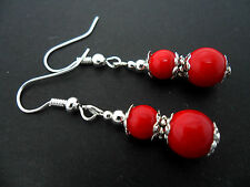 A PAIR OF PRETTY RED CORAL BEAD  SILVER PLATED    EARRINGS. NEW.