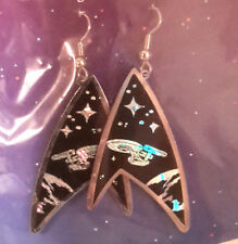 Vintage Star Trek Classic Enterprise Hologram Earrings- Black (STJW-AH-01)