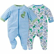 NEW GERBER Newborn Baby Boy Zipper Footie Pajamas Onesie 0-3 mo, 2 pk NWT