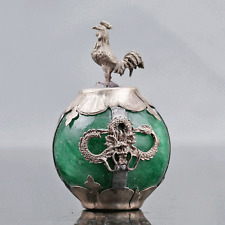 Collectable Green Jade Armor Tibetan Silver Hand-carve Zodiac statue -- Chicken