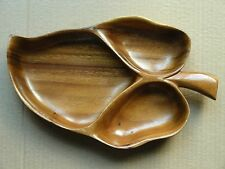 BLAIR CO. HONOLULU MONKEY-POD WOOD 3-SECTION LEAF DISH