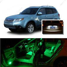 For Subaru Forester 1998-2014 Green LED Interior Kit + White License Light LED