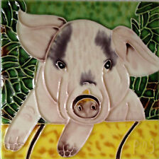 "Pig Art Tile 4""x4"" Farm Animals Decorative Ceramic New Backsplash Piggy Pink"