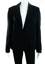 NWT ELLEN TRACY Black Wool Long Sleeve Collared Button Down Jacket Coat Sz 10