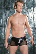 Sexy Men's shiny black boxer brief see thru side panels one size 30-34 waist low