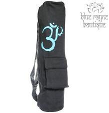 Black Cotton Canvas OM Print Yoga Mat Zip Travel Shoulder Strap Sling Bag Nepal