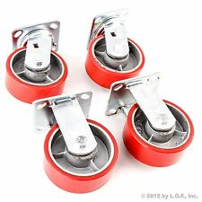 "4 Plate Casters 5"" Heavy Duty Cast Iron Hub Core Non Skid Mark Wheels 2 Swivel"
